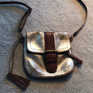 Anthropologie Silver Leather Crossbody